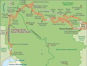 View Enlarged Image This map of Colorado's Trail Ridge Road/Beaver Meadow Road climbs through the stunning beauty of Rocky Mountain National Park.