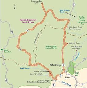 This map of Russell-Brasstown Scenic Byway follows the mountainous loop through the greenery of Chattahoochee National Forest.