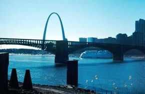 The St. Louis Arch is visible from Historic National Road.