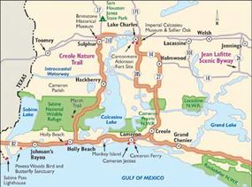 This map of the Creole Nature Trail encompasses incomparable wetlands. Along the trail, visit three wildlife refuges.