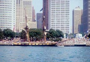 Hundreds of sail and power boats line the Detroit River each year during the International Freedom Festival in July.