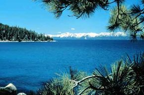 Enjoy serene vistas while travelling Lake Tahoe-Eastshore Drive.