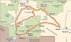 View Enlarged Image Bring the kids when you follow this map of the Billy the Kid Trail along the same paths the outlaw followed.