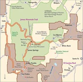 View Enlarged Image Follow this map of the Jemez Mountain Trail for adventures in American Indian history, geology, camping, and scenic beauty.