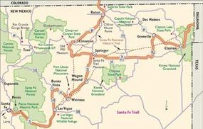 View Enlarged Image This map shows the variety of cities, historical sites, and national and state parks you'll pass as you follow New Mexico's Santa Fe Trail.