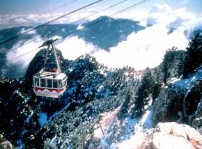 A highlight of the Turquoise Trail is the tram ride up to Sandia Peak where you can get a bird's eye view of the magnificent landscape below.