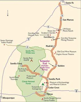 Follow this map of the Turquoise Trail to see the range of terrain in New Mexico, from colorful deserts to the Sandia Mountains.