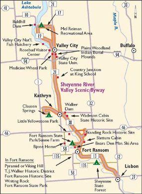 Follow the Sheyenne River Valley Scenic Byway through historical American Indian territory and North Dakota's beautiful oak savannah.