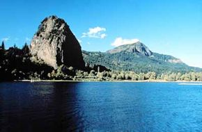 Here's the Columbia River and Beacon Rock, visible from Historic Columbia River Highway.