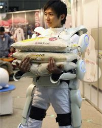 Forget being a superhero. You just need some help hoisting rice at the supermarket. An exoskeleton, like HULC or HAL (hybrid assistive limb) pictured here, can help you do that.