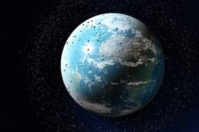 Sadly, there's a lot of space junk around planet Earth.