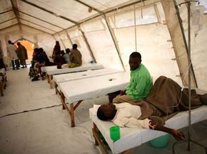 A Congolese man is treated for cholera in a Doctors Without Borders tent clinic at the Kibati refugee camp just outside the town of Goma, Democratic Republic of Congo in 2008.