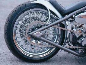 Spoke wheels give this chopper a classic look.