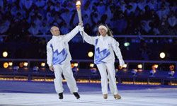 U.S. Olympic Figure Skating Champions Scott Hamilton and Peggy Fleming during the opening ceremony of the 2002 Winter Olympics.