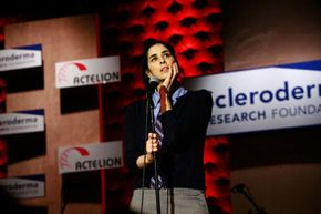 Sarah Silverman performs at the Cool Comedy-Hot Cuisine benefit for the Scleroderma Research Council at the Four Seasons in Beverly Hills, Calif.