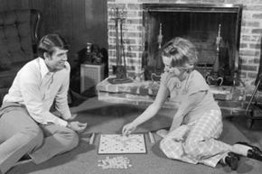 A quiet night of Scrabble in 1970.