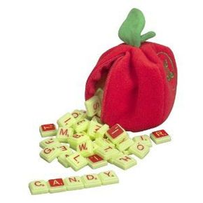 Instead of using a board, players of Scrabble Apple take their tiles out of a plush apple.