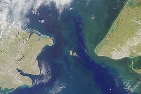 The Bering Strait, separating Siberia from Alaska in the North Pacific.