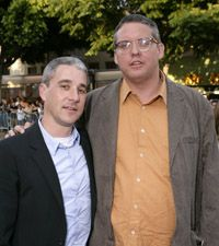 "Some screenwriters write for TV and some write for movies. Sony's Matt Tolmach, left, with director/screenwriter Adam McKay at the ""Step Brothers"" premiere."