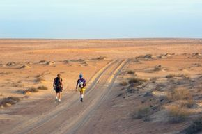 For those ambitious enough to take on an ultramarathon, there are likely to be a number of highs and lows in energy level. Pictured here: Joao Oliveira and Johan Steene during the Transomania 2014 race in Wahiba Desert, Oman
