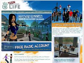Teen Second Life's home page is where teenagers between the ages of 13 and 17 can create an account.