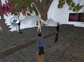 Second Life residents gather at a snow landscape to chat, dance and stare at the ground. See more pictures of popular web sites.