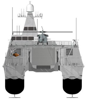 A multi-purpose stern ramp will allow Sea Fighter to launch and recover manned and unmanned surface and sub-surface vehicles up to the size of a Rigid-Hull Inflatable Boat.