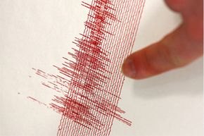 A seismogram at the Bensberg seismic station in Germany captures the Sept. 8, 2011, earthquake in Bergisch-Gladbach, Germany. The West German quake had a magnitude of 4.4 and caused no damages.
