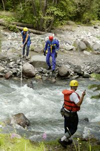 A search and rescue team on duty in the Rocky Mountains.