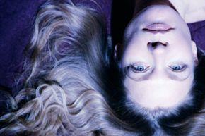Woman's head upside-down