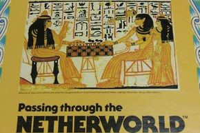 """This Senet box from 1978 reproduces an ancient Egyptian wall painting. The caption reads """"Nebenma'at plays Senet with his wife while their daughter looks on. A scene from their tomb at Thebes. Late Dyn. XIX or Dyn. XX (ca. 1250-1100 B.C.)."""" See more pictures of toys and games."""