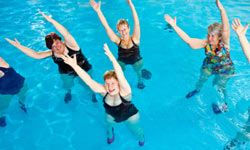 Water aerobics is great for exercising -- and socializing.