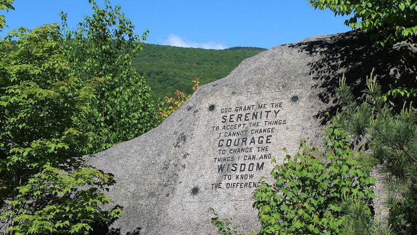 Serenity Prayer on mountain
