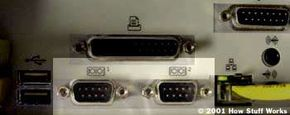 Two serial ports on the back of a PC