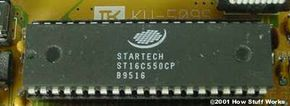 This 40-pin Dual Inline Package (DIP) chip is a variation of the National Semiconductor NS16550D UART chip.