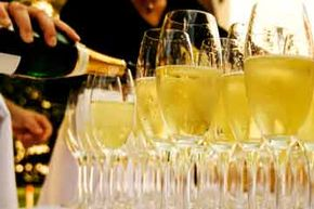 Serving champagne in fluted glasses concentrates the flavors and boosts the flow of bubbles. See more wine pictures.