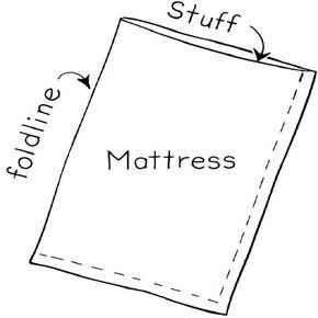 Sew two sides closed and stuff mattress.
