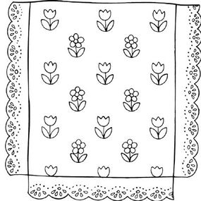 Sew lace trim all around the bedspread.
