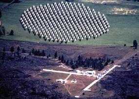 The Allen Telescope Array (top: prototype seven-dish array; bottom: artist concept of completed array)