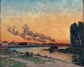 Setting Sun at Ivry by Jean-Baptiste Armand on canvas (25-1/2 x 31-7/8 inches) Paris. See more pictures of Impressionist paintings.