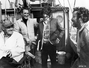 Actors Robert Shaw, Roy Scheider and Richard Dreyfuss with director Steven Spielberg during the filming of Spielberg's 'Jaws'. See more pictures of sharks.
