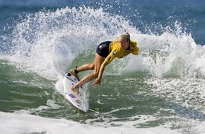 Bethany Hamilton of Hanalei, Kauai, Hawaii competes in the ISA Lost Energy Drink World Surfing Games on October 17, 2006 in Huntington Beach, California.