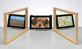 A Sharp Triple-directional viewing LCD panel. Depending on the direction from which you're viewing it, you can see one of three different images. See more HDTV pictures.