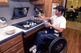 Shepherd Center's Activities of Daily Living Kitchen is a model that demonstrates how a few simple adaptations can make a kitchen wheelchair-accessible. Patients are encouraged to cook a meal or dessert here so they can begin to feel comfortable about working in their kitchens at home.