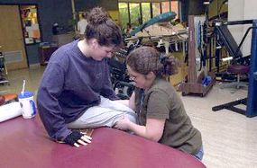 For someone who no longer has feeling or movement below the waist, learning to transfer from a wheelchair to another surface, or even sitting for any length of time, can be very difficult. Therapists help patients with spinal cord injuries rebuild their strength and flexibility and practice the techniques that will allow them to become as independent as possible.