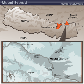 Mount Everest is located in the upper reaches of the Solukhumbu region.