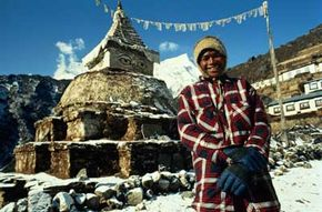 A Sherpa man standing in Namche Bazaar in the Solu-Khumbu region in northeastern Nepal.