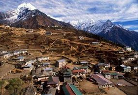 Aerial view of the Solu-Khumbu region at the base of Mount Everest.