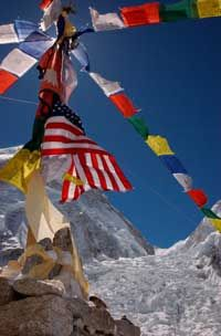 Tibetan prayer flags blow in the breeze at the Mount Everest base camp.