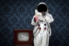 Conspiracy theorists may think the moon landing was an elaborate hoax by Stanley Kubrick, but this astronaut seems to be enjoying it.